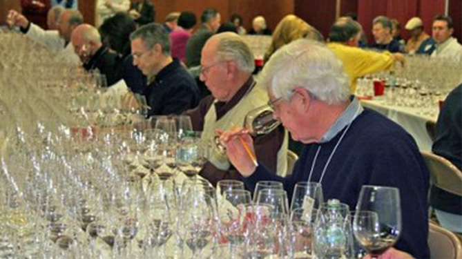 Judging wine in a competition